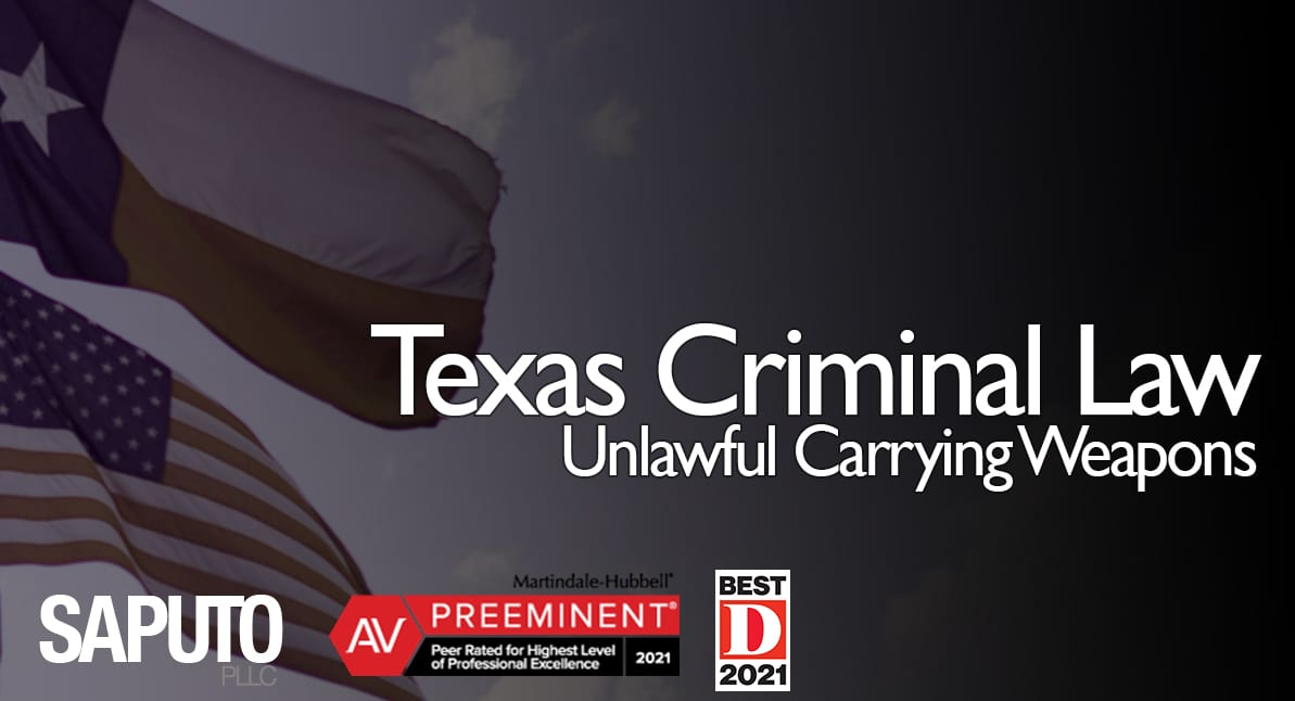 Unlawful Carrying Weapons text with flags background
