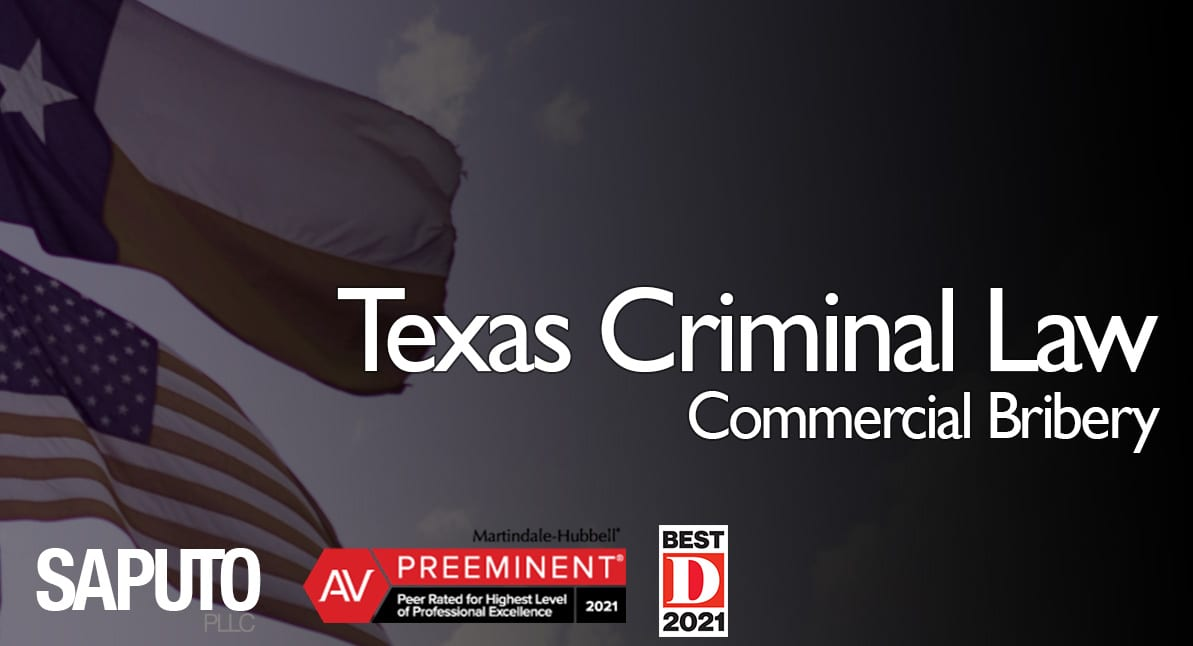Commercial Bribery text over Texas flag background